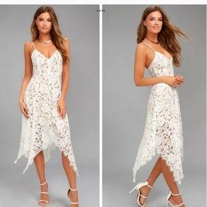 """NEW Lulu's """"One Wish"""" White Lace Midi Dress"""